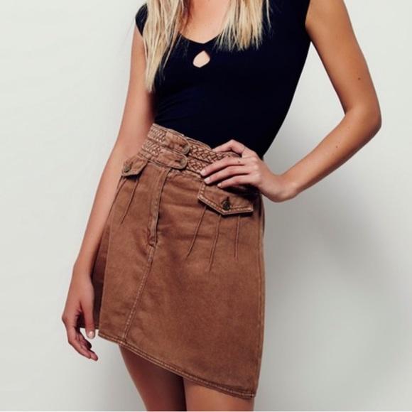 Free People Dresses & Skirts - Free People Braided Baby Brown Denim Mini Skirt 0